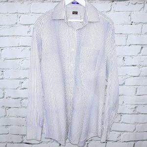 Paul Smith Op Art Windowpane Blue White Shirt